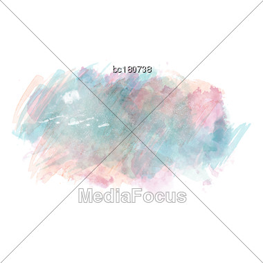 Blue And Pink Watercolor Painted Vector Stain Isolated On White Background, Vector Eps10 Stock Photo