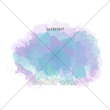Blue And Purple Watercolor Painted Stain Isolated On White Background, Vector Eps 10 Stock Photo