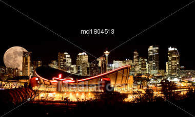 Calgary Full Moon Night Skyline Alberta Canada Stock Photo