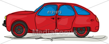 Cartoon Style Drawing Of A Red Sport Car Stock Photo