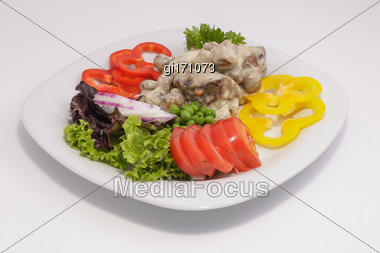 Champignons With Sauce With Fresh Vegetables And Herbs. View From Above Stock Photo