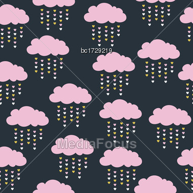 Childish Seamless Pattern With Pink Clouds Stock Photo