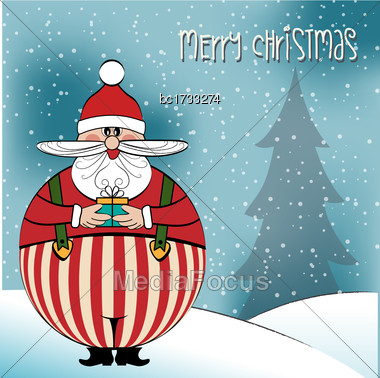 Christmas Card With Funny Fat Santa, Vector Format Stock Photo