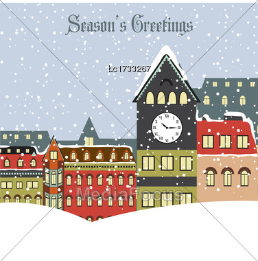 Christmas Card With Town In Winter, Vector Format Stock Photo