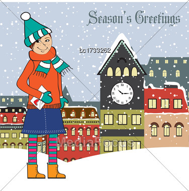Christmas Card With Young Girl, Vector Format Stock Photo