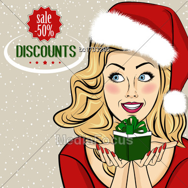 Christmas Discount Banner With Sexy Blonde Santa, Vector Format Stock Photo