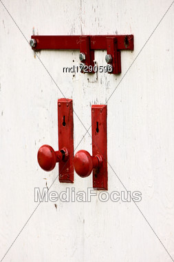 Close Up Door Knob Red And White Graphic Stock Photo