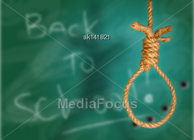 Collage Of Rope Noose On Green Grunge School-board Stock Photo