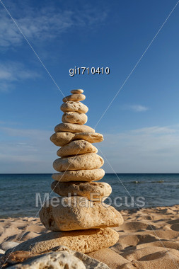 Concept Of Balance And Harmony. Rocks On The Coast Of The Sea In The Nature Stock Photo