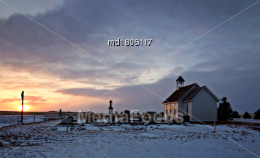 Country Prairie Church In Sasktchewan Canada Winter Cold Stock Photo