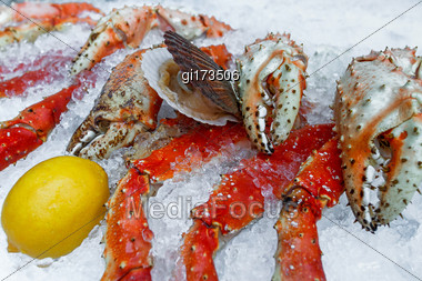 Crab Claw Lying In The Ice. Close-up Stock Photo