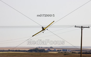 Crop Duster Saskatchewan Power Lines Danger Canada Stock Photo