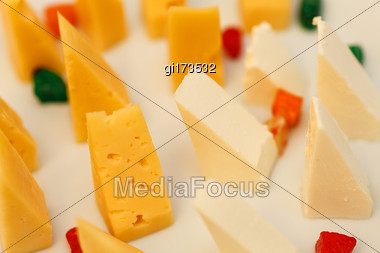 Cut French Cheese Blocks Background Close Up Stock Photo