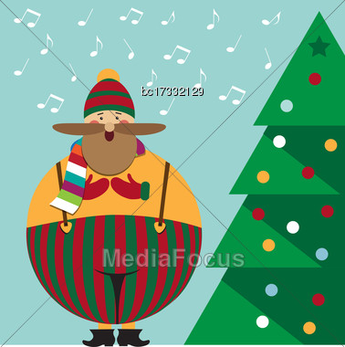 Cute Christmas Card With Funny Fat Christmas Carol , Vector Format Stock Photo