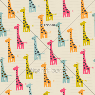 Cute Doodle Seamless Pattern With Giraffe Stock Photo