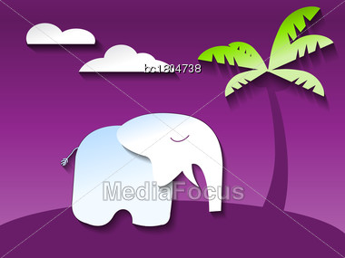 Cute Elephant In Ultraviolet Jungle, Paper Art Style Vector Stock Photo