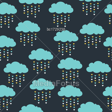 Cute Seamless Pattern With Blue Clouds Stock Photo