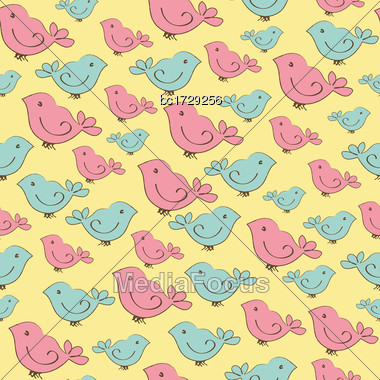 Cute Seamless Pattern With Doodle Birds Stock Photo