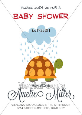 Delicate Customizable Baby Shower Card Template With Turtle, Vector Format Stock Photo