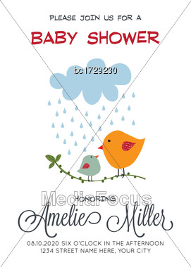 Delicate Customizable Baby Shower Card Template With Birds, Vector Format Stock Photo