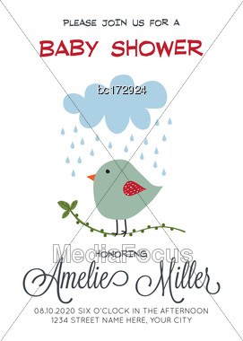 Delicate Customizable Baby Shower Card Template With Bird, Vector Format Stock Photo