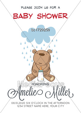 Delicate Customizable Baby Shower Card Template With Teddy Bear Toy, Vector Format Stock Photo