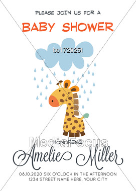 Delicate Customizable Baby Shower Card Template With Giraffe Toy, Vector Format Stock Photo