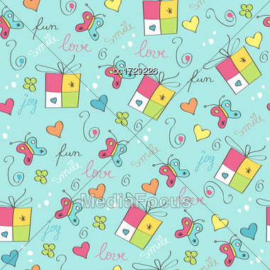 Delicate Seamless Pattern With Gift Boxes Stock Photo