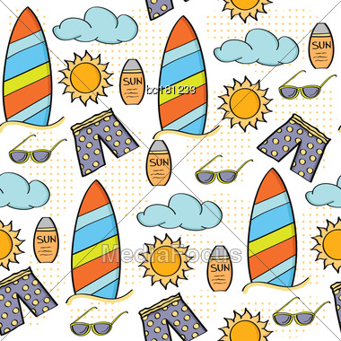 Doodle Cartoon Seamless Pattern Summer Holiday Concept, Vector Format Stock Photo
