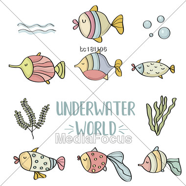 Doodle Fishes Set, Underwater World, Vector Eps 10 Stock Photo