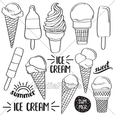 Doodle Ice Cream Collection Isolated In Black And White For Coloring, Vector Stock Photo