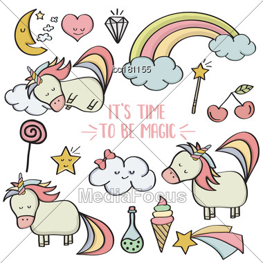 Doodle Items Collection With Unicorns And Other Fantasy Magical Elements. Vector Stock Photo