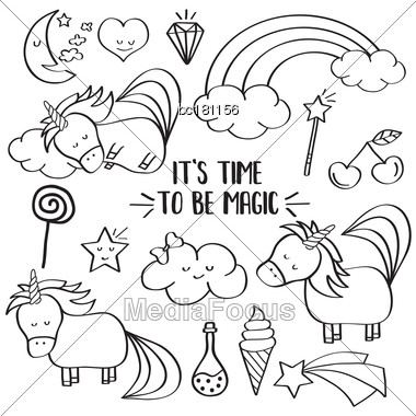 Doodle Items Collection With Unicorns And Other Fantasy Magical Elements. For Coloring. Vector Stock Photo