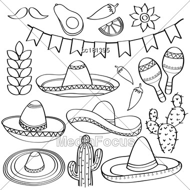 Doodle Mexico Symbol Collection Isolated In Black And White For Coloring, Vector Stock Photo