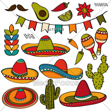 Doodle Mexico Symbol Collection Isolated On White Background, Vector Format Stock Photo