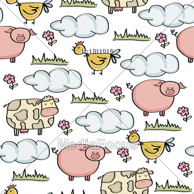 Doodle Seamless Pattern With Animal Farm, Vector Eps 10 Stock Photo