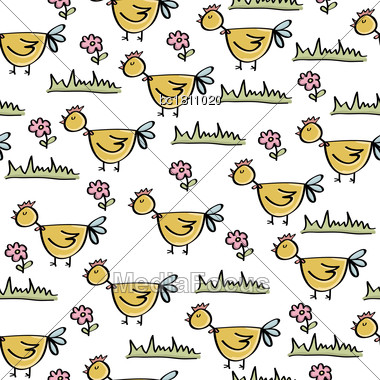 Doodle Seamless Pattern With Chicken, Vector Eps 10 Stock Photo