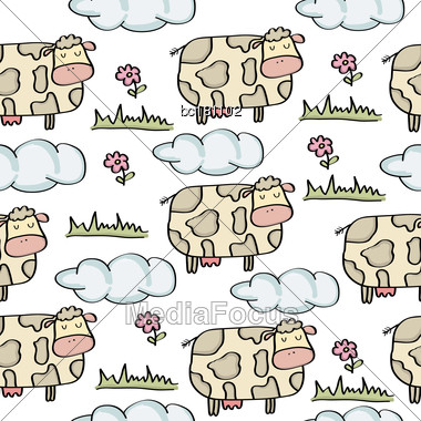 Doodle Seamless Pattern With Cows, Vector Eps 10 Stock Photo