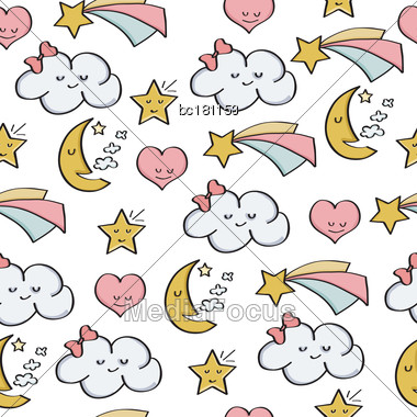 Doodle Seamless Pattern With Fantasy Magical Elements. Vector Stock Photo