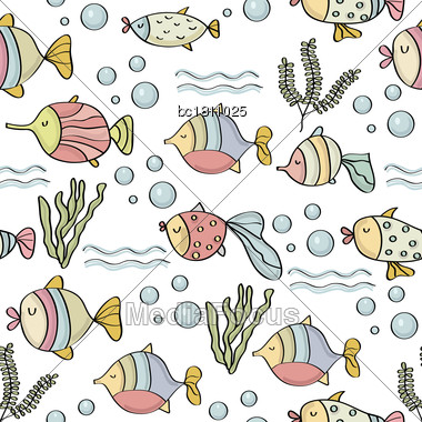 Doodle Seamless Pattern With Fishes, Vector Eps 10 Stock Photo