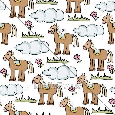 Doodle Seamless Pattern With Horses, Vector Eps 10 Stock Photo