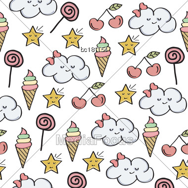 Doodle Seamless Pattern With Magical Sweets Elements. Vector Stock Photo