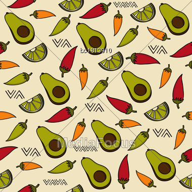 Doodle Seamless Pattern With Mexico Symbols, Vector Format Stock Photo