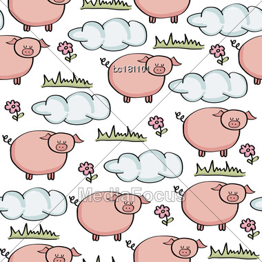 Doodle Seamless Pattern With Pigs, Vector Eps 10 Stock Photo