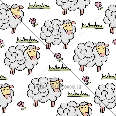 Doodle Seamless Pattern With Sheep, Vector Eps 10 Stock Photo