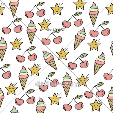 Doodle Seamless Pattern With Sweets Elements. Vector Stock Photo
