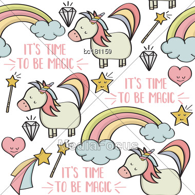 Doodle Seamless Pattern With Unicorns And Other Fantasy Magical Elements. Vector Stock Photo