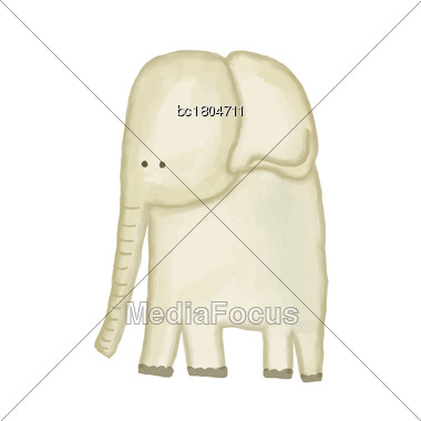 Doodle, Watercolor Hand Drawn Elephant Isolated On White Background, Vector Stock Photo