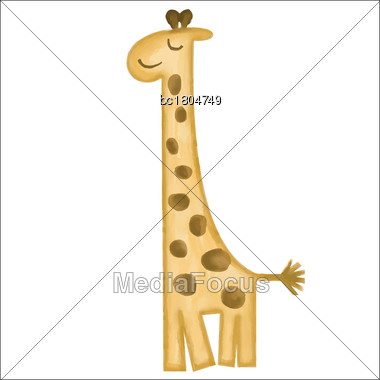 Doodle, Watercolor Hand Drawn Giraffe Isolated On White Background, Vector Stock Photo