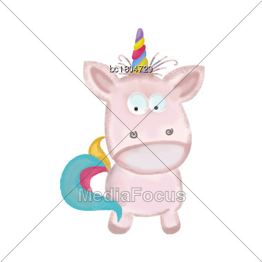Doodle, Watercolor Hand Drawn Unicorn Isolated On White Background, Vector Stock Photo